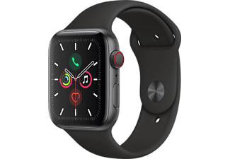 APPLE Watch Series 5 GPS + Cell 44mm Aluminiumgehäuse Space Grau mit Sportarmband Schwarz