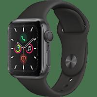 APPLE Watch Series 5 GPS 40mm Aluminiumgehäuse Space Grau mit Sportarmband Schwarz
