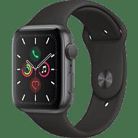 APPLE Watch Series 5 GPS 44mm Aluminiumgehäuse Space Grau mit Sportarmband Schwarz