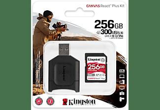KINGSTON 256GB Speicherkarte Canvas React Plus SDXC Kit, R300/W260, UHS-II U3, A1, Class10, Schwarz