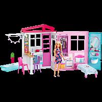 BARBIE Ferienhaus mit Möbeln und Puppe (blond) Puppenhaus mit Zubehör, Mehrfarbig