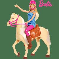 BARBIE Pferd mit Puppe (blond) Spielset, Mehrfarbig