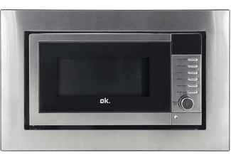 Microondas integrable - OK OMWG 20193DS BI, 700 w, 20 l, Encastrable con Marco, 6 niveles, Inox