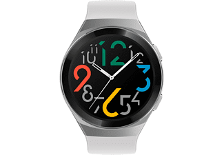HUAWEI Huawei Watch GT 2e (Hector B19P) Smartwatch Metall, Kunststoff Fluorelastomer/Thermoplastisches Polyurethan, 140-210 mm, Icy White