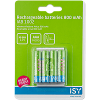 ISY IAB-1002 AAA Wiederaufladbare Batterien, 1.2 Volt, 800 mAh je Batterie 4 Stück