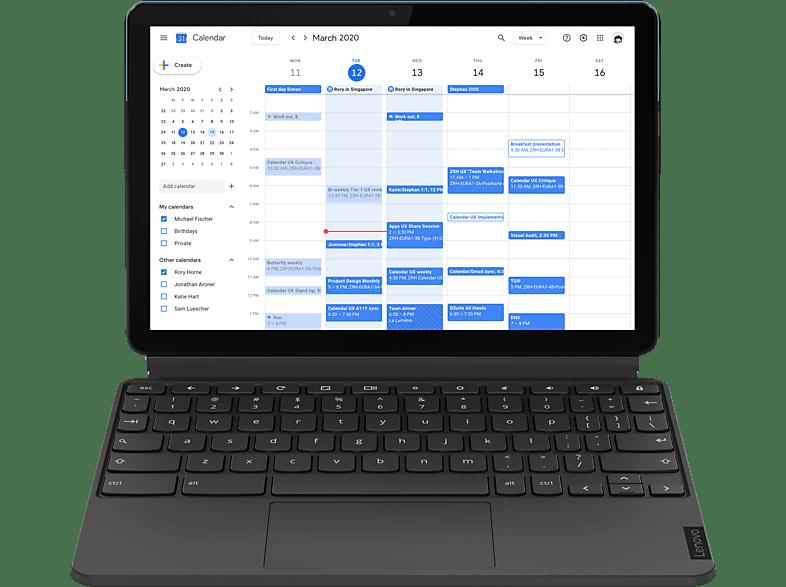 LENOVO IdeaPad Duet Chromebook, Chromebook mit 10,1 Zoll Display Touchscreen, Helio Prozessor, 4 GB RAM, 128 eMMC, ARM G72 MP3, Eisblau Eisengrau