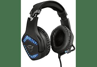 Auriculares Gaming - Trust GXT 460, Luz azul LED, Micrófono, Multiplataforma, 50mm, Cable de 1 metro, Negro