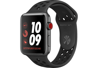 APPLE Watch Nike+ Series 3 GPS + Cellular Space Grau, 38 mm Aluminiumgehäuse mit Nike Sportarmband Schwarz