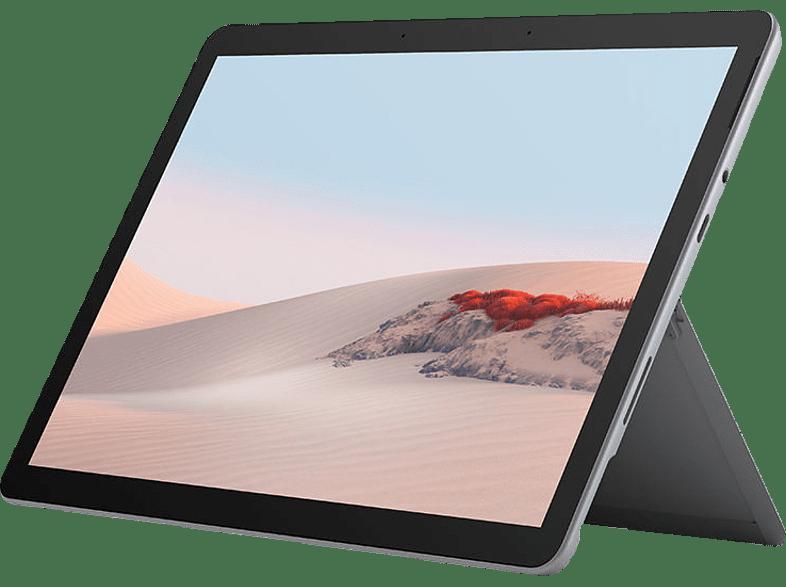 MICROSOFT Surface Go 2, Tablet mit 10,5 Zoll Display, Pentium Gold Prozessor, 8 GB RAM, 128 SSD, Platin