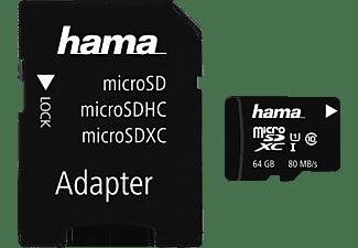 HAMA microSDXC Class 10 UHS-I, Micro-SD Speicherkarte, 64 GB, 80 MB/s