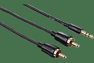 HAMA 1x 3,5-mm-Klinken-Stecker auf 2x Cinch-Stecker Audio Kabel, Schwarz