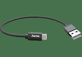 HAMA USB Typ-C, Lade-/Datenkabel, 0,2 m, Schwarz