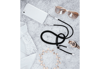 HAMA Cross-Body-Cover mit Kordel, Backcover, Apple, iPhone 7 Plus, iPhone 8 Plus, Schwarz/Transparent