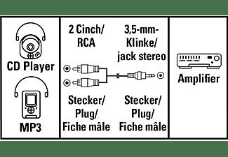 HAMA 2x Cinch-Stecker an 3.5 mm Klinken-Stecker , Cinch Kabel, 5 m