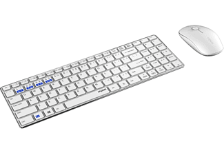 RAPOO Multimodus-Kombi-Set 9300M, Tastatur & Maus Set, Weiß