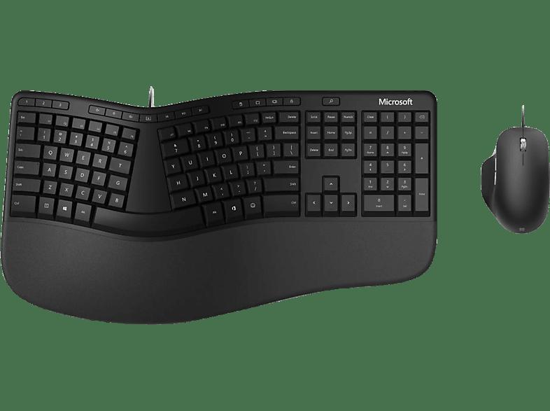 MICROSOFT Ergonomic Desktop, Tastatur-Maus Set, Schwarz