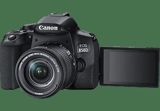 CANON EOS 850D Kit Spiegelreflexkamera, 4K, Full HD, HD, 18-55 mm Objektiv (EF-S, IS II, STM), Touchscreen Display, WLAN, Schwarz