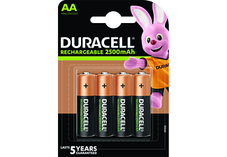 Pilas recargables - Duracell AA, 4 unidades, 2500 mAh LR06 / LR6, Negro