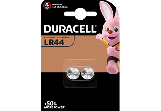 Pilas botón - Duracell LR44, 2 unidades, 1.5 V 76A/A76/V13GA, Negro