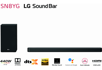 Barra de sonido - LG SS SN8YG, Dolby Atmos, 440W, Subwoofer, Inalámbrico, Bluetooth, Negro