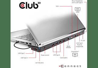 CLUB-3D USB-C 3.2 Gen.1 Triple Display Dynamic Docking Station, schwarz (CSV-1564)