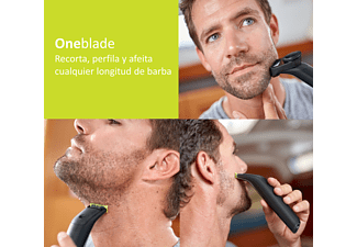 Maquinilla de afeitar - Philips OneBlade Pro Cara QP6510/20, Recorta, Perfila, Afeita, Peine guía 0.5 a 9mm