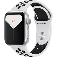 APPLE Watch Nike Series 5 40mm Smartwatch Aluminium Fluorelastomer, 130 - 200 mm, Armband: Pure  Platinum Schwarz, Gehäuse: Silber