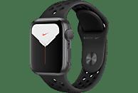 APPLE Watch Nike Series 5 40mm Smartwatch Aluminium Fluorelastomer, 130 - 200 mm, Armband: Anthrazit Schwarz, Gehäuse: Space Grey