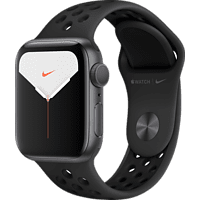 APPLE Watch Nike Series 5 40mm Smartwatch Aluminium Fluorelastomer, 130 - 200 mm, Armband: Anthrazit Schwarz, Gehäuse: Space Grey