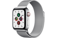 APPLE Watch Series 5 (GPS + Cellular) 40mm Smartwatch Edelstahl Edelstahl, 130 - 200 mm, Armband: Silber  Milanaise, Gehäuse: Edelstahl