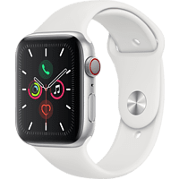 APPLE Watch Series 5 (GPS + Cellular) 44mm Smartwatch Aluminium Fluorelastomer, 140 - 200 mm , Armband: Weiß, Gehäuse: Silber
