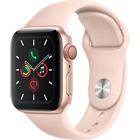 APPLE Watch Series 5 (GPS + Cellular) 40mm Smartwatch Aluminium Fluorelastomer, 130 - 200 mm, Armband: Sandrosa, Gehäuse: Gold