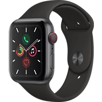 APPLE Watch Series 5 (GPS + Cellular) 44mm Smartwatch Aluminium Fluorelastomer, 140 - 200 mm , Armband: Schwarz, Gehäuse: Space Grey