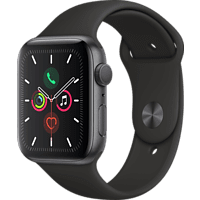 APPLE Watch Series 5 44mm Smartwatch Aluminium Fluorelastomer, 140 - 200 mm , Armband: Schwarz, Gehäuse: Space Grey