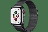 APPLE Watch Series 5 (GPS + Cellular) 40mm Smartwatch Edelstahl Edelstahl, 130 - 200 mm, Armband: Schwarz  Milanaise, Gehäuse: Edelstahl Schwarz