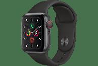 APPLE Watch Series 5 (GPS + Cellular) 40mm Smartwatch Aluminium Fluorelastomer, 130 - 200 mm, Armband: Schwarz, Gehäuse: Space Grey