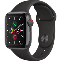 APPLE Watch Series 5 (GPS + Cellular) 40mm Smartwatch Aluminium Fluorelastomer, 130 - 200 mm, Armband: Schwarz, Gehäuse: Space Grey