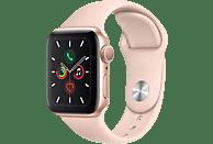 APPLE Watch Series 5 40mm Smartwatch Aluminium Fluorelastomer, 130 - 200 mm, Armband: Sandrosa, Gehäuse: Gold