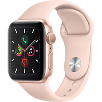 APPLE Watch Series 5 40mm Smartwatch Aluminium Fluorelastomer, 130 - 200 mm, Armband: Sandrosa, Gehäuse: Gold