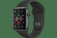 APPLE Watch Series 5 40mm Smartwatch Aluminium Fluorelastomer, 130 - 200 mm, Armband: Schwarz, Gehäuse: Space Grey
