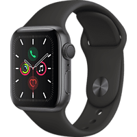 APPLE Watch Series 5 40mm Smartwatch Aluminium Fluorelastomer, 130 - 200 mm, Armband: Schwarz, Gehäuse: Space Grey