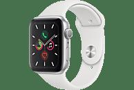 APPLE Watch Series 5 44mm Smartwatch Aluminium Fluorelastomer, 140 - 200 mm , Armband: Weiß, Gehäuse: Silber