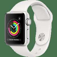 APPLE Watch Series 3 38 mm Smartwatch Aluminium Kunststoff, 140-210 mm, Armband: Weiß / Gehäuse: Silber