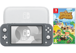 NINTENDO Switch Lite Grey + Animal Crossing New Horizons + Switch Lite Tasche & Schutzfolie