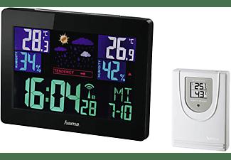 Estación meteorológica - Hama Color EWS-1400, Reloj DCF inalámbrico, Pronóstico en 5 símbolos, Negro