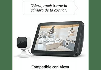 Cámara de seguridad - Amazon Blink Mini, 1080p, Detección de movimiento, Visión nocturna,Talkback,Alexa,Blanco