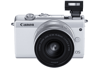 Cámara EVIL - Canon EOS M200, M15-45 SL, 24.1 megapixel, Pantalla 7.5 cm, Vídeos 4K, WiFi, Bluetooth, Blanco