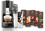 TCHIBO CAFISSIMO Saeco Latte Argento + 60 Kapseln (Espresso, Filterkaffee, Caffè Crema) Kapselmaschine Silber