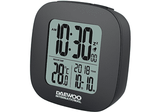 Despertador - Daewoo DCD-26B, Función Snooze, Reloj, Temperatura, Calendario, Negro