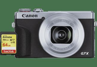 CANON PowerShot G7 X Mark III silber Bundle mit SanDisk Extreme SDXC UHS-I 64 GB